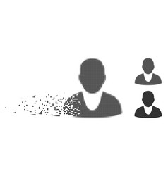 Client disappearing pixel halftone icon vector
