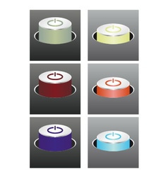 Colored glowing buttons vector