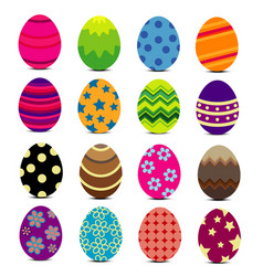 Colorful easter eggs with patterns vector
