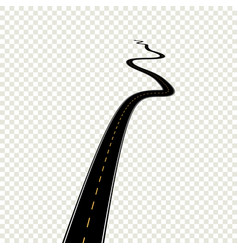 curved perspective road with yellow markings vector image