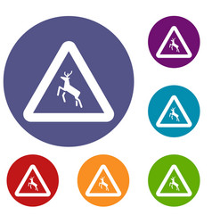 Deer traffic warning sign icons set vector