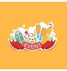 Diving event template label cute sticker vector