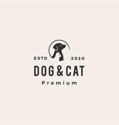 dog cat pet hipster vintage logo icon vector image