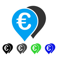 Euro map markers flat icon vector
