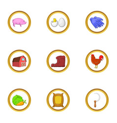 Farmer hobby icon set cartoon style vector