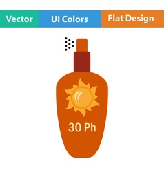 Flat design icon of sun protection spray vector image