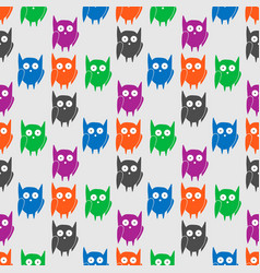 flat seamless pattern with colorful funny owls vector image