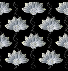 floral seamless pattern abstract black repeating vector image