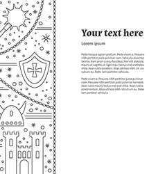 Flyer poster template with medieval line icons vector