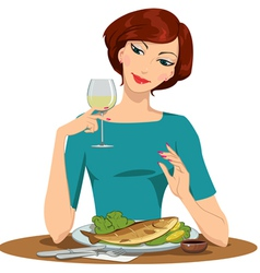 girl eating fish and drinking wine vector image