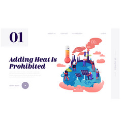 Global warming website landing page tiny vector