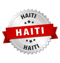 Haiti round silver badge with red ribbon vector