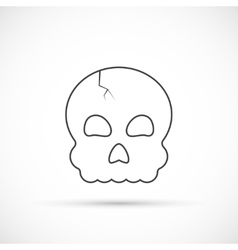 Halloween skull outline icon vector image