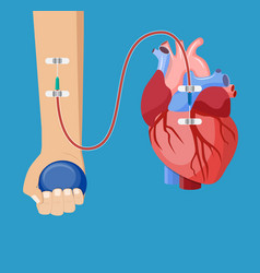 Hand of donor with heart vector
