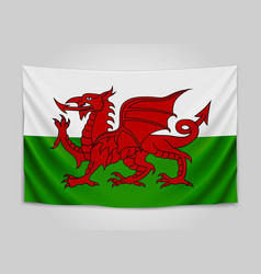 Hanging flag of wales wales national flag vector