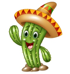 Happy cactus waving hand isolated vector