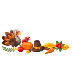 happy thanksgiving day decoration vector image