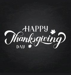 happy thanksgiving day hand written with brush vector image