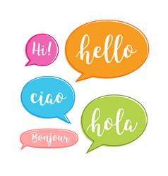 Hello bubble in different language english vector