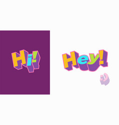 Hi hey hello 3d text plate background for vector