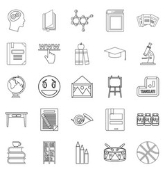 high education icons set outline style vector image vector image