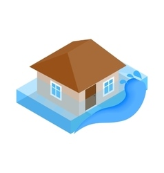House sinking in water icon isometric 3d style vector image