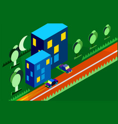 isometric city car tree night moon green vector image