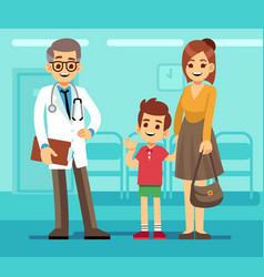 kind smiling pediatrician doctor and mother with vector image