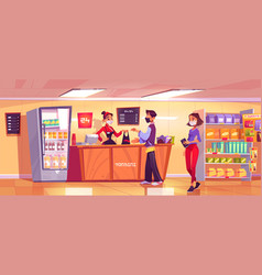 konbini convenience store seller and customers vector image
