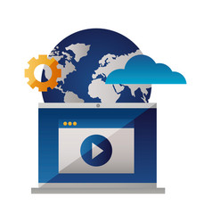 laptop video world setting cloud computing vector image