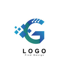 letter g logo with technology style design vector image