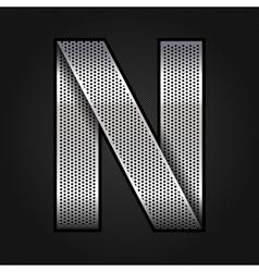 Letter metal chrome ribbon - n vector