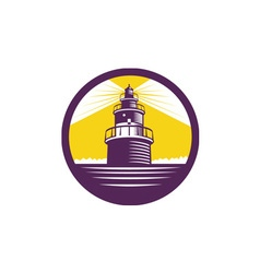 Lighthouse Circle Woodcut vector