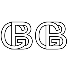 Logo sign gb bg icon sign interlaced letters b g vector