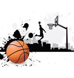 Man dunking basketball silhouette vector