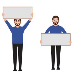 man holding a poster vector image