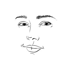 Monochrome art portrait of flirting woman face vector