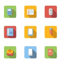 Office and business icons set flat style vector