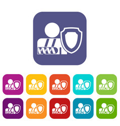 oken arm and safety shield icons set vector image