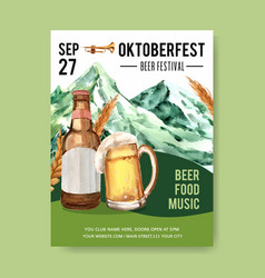 Oktoberfest poster with mountain beer trumpet vector