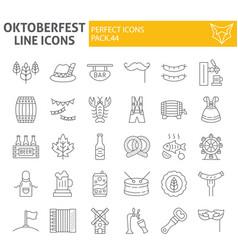 oktoberfest thin line icon set bavarian holiday vector image