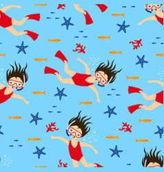 pattern scuba diving girl swimming vector image