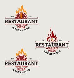 Pizza restaurant logo set 1 vector