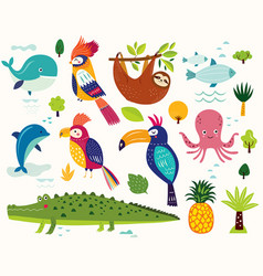 poster with cute animals vector image