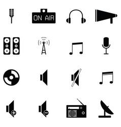 radio icon set vector image