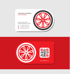 Red business card with automobile wheel vector