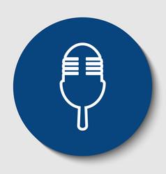 retro microphone sign white contour icon vector image