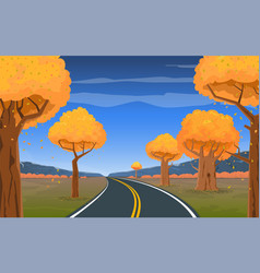 road trip adventure and a beautiful autumn vector image
