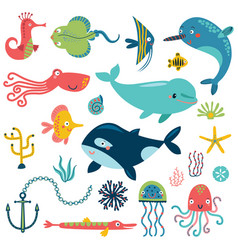 sea set characters vector image