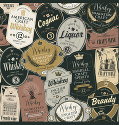 seamless pattern with labels for alcoholic drinks vector image